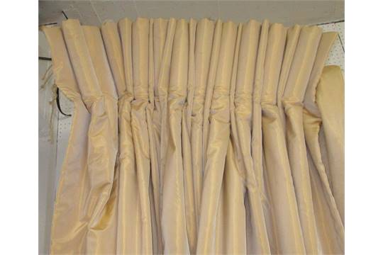 CURTAINS, two pairs, gold, each 145cm W gathered by 237cm drop. (4)