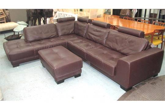 Roche Bobois Corner Sofa In Brown Leather With Ottoman An
