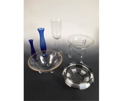 A collection of Wiener Werkstätte glasswares, comprising a circular bowl with gilded rim and sprig decoration attributed to D