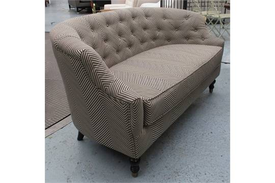 SOFA, Of Small Proportions, With A Buttoned Curved Back And Herringbone  Upholstery, 144.5cm L.