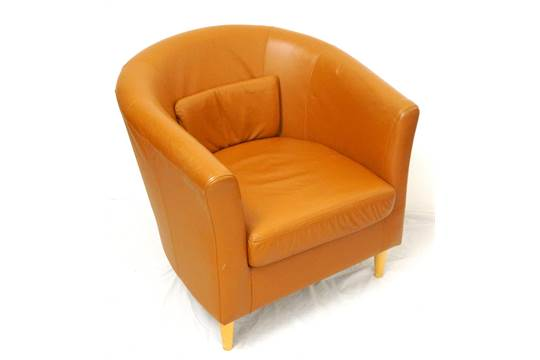 Nice IKEA FAUX LEATHER U0027TULLSTAu0027 TUB CHAIR In Tan, Raised On Short Tapering Legs