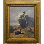 Friedrich Lossow, 1837-1872, Germany, Rural Scene with Two Dogs on a Track with Cat on a Sign and