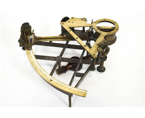 An 18th century brass sextant by Beilby, Bristol, signed with makers name, in original mahogany case