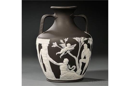 Wedgwood Solid Black Jasper Portland Vase England Late 19th