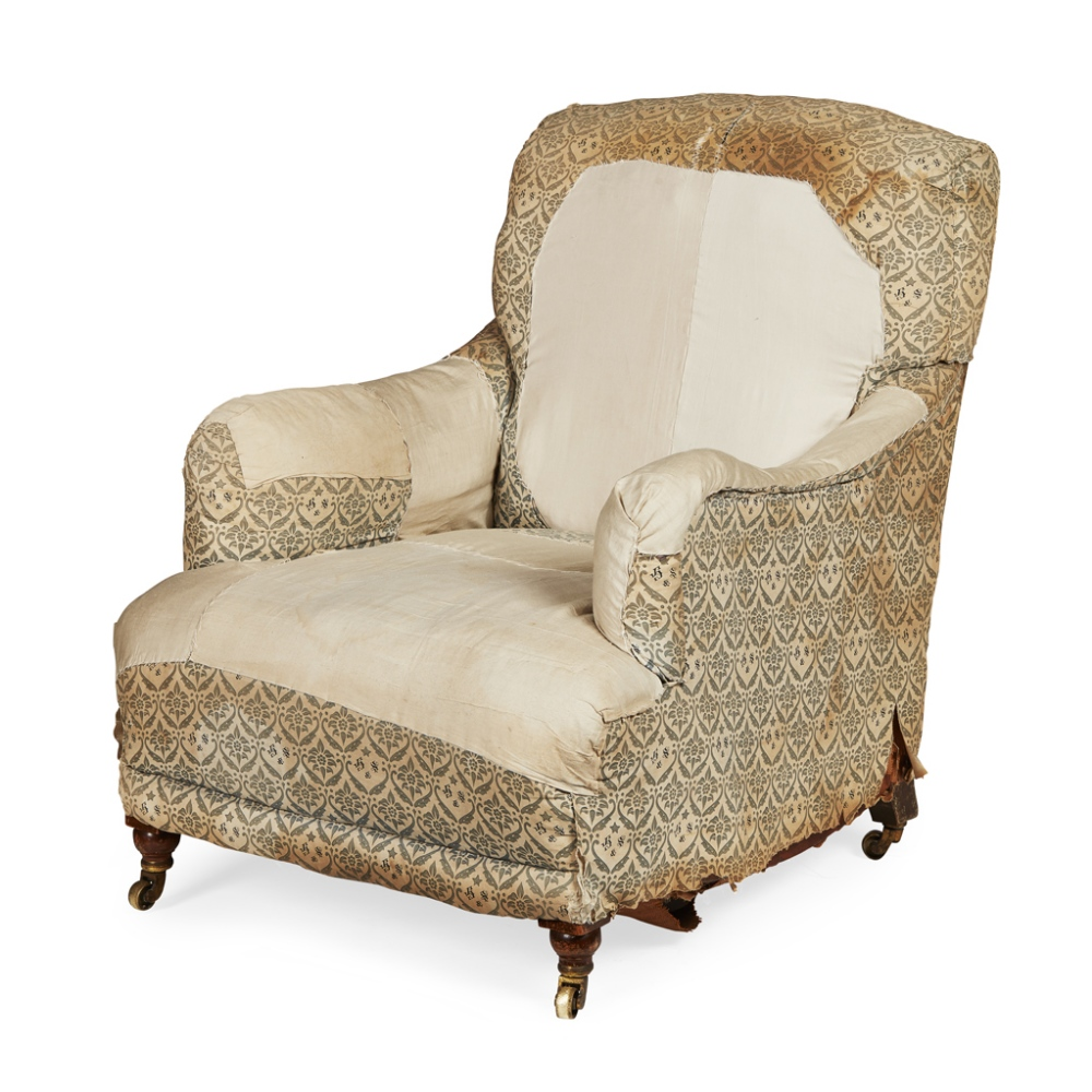 Lot 523 - HOWARD & SONS 'BAILEY' MODEL EASY ARMCHAIR EARLY 20TH CENTURY the low 'siege de duvet' back above