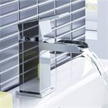 (AA1005) Modern Waterfall Cloakroom Basin Mixer Tap Chrome Bathroom Sink. Chrome plated solid b...