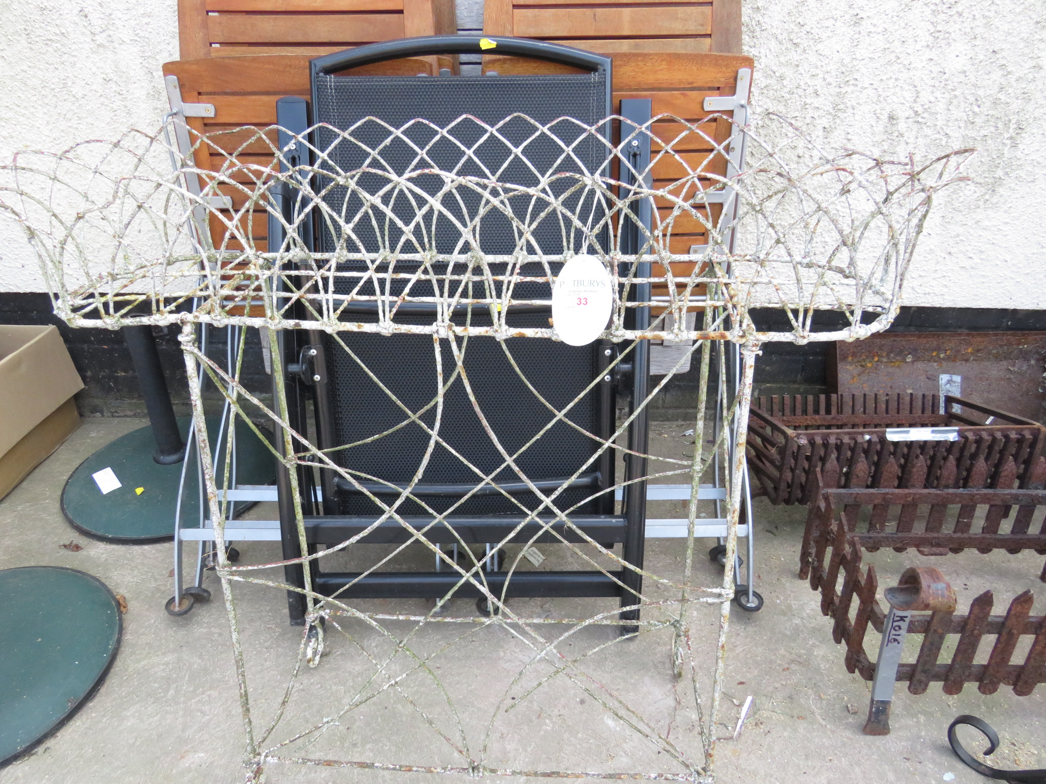 Lot 33 - VICTORIAN WHITE PAINTED SCROLLED WIRE FRAMED CONSERVATORY PLANT STAND