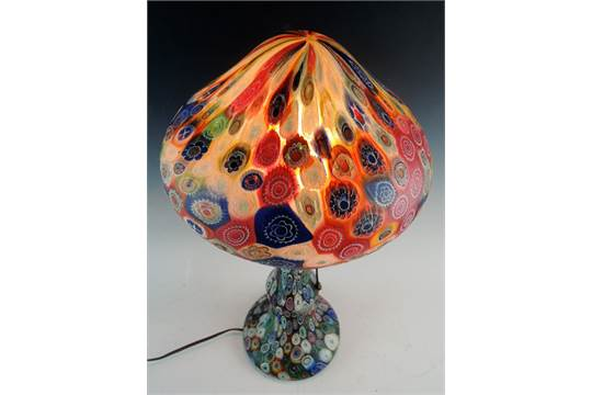 Antique Millefiori Lamp Circa 1920 A Colorful Millefiori Glass Base And Shade Very Good Condit