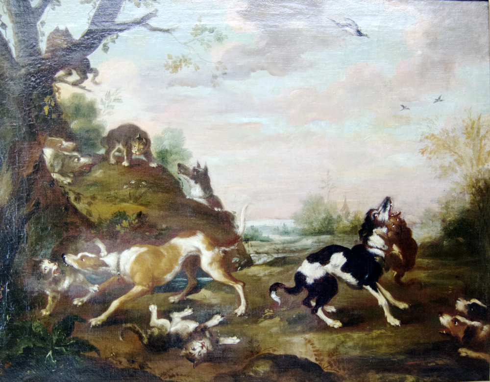 Dogs and Cats Fighting Scene in Landscape Antique painting by follower of Paul de Vos (Flemish - Image 2 of 3
