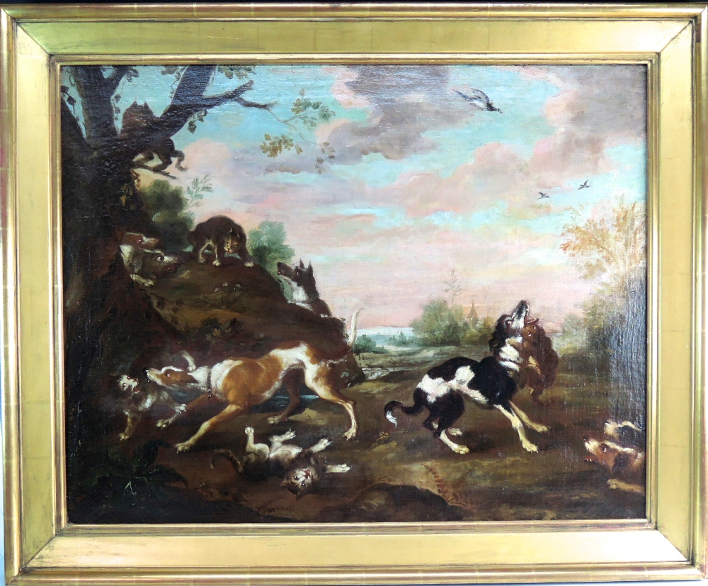 Dogs and Cats Fighting Scene in Landscape Antique painting by follower of Paul de Vos (Flemish