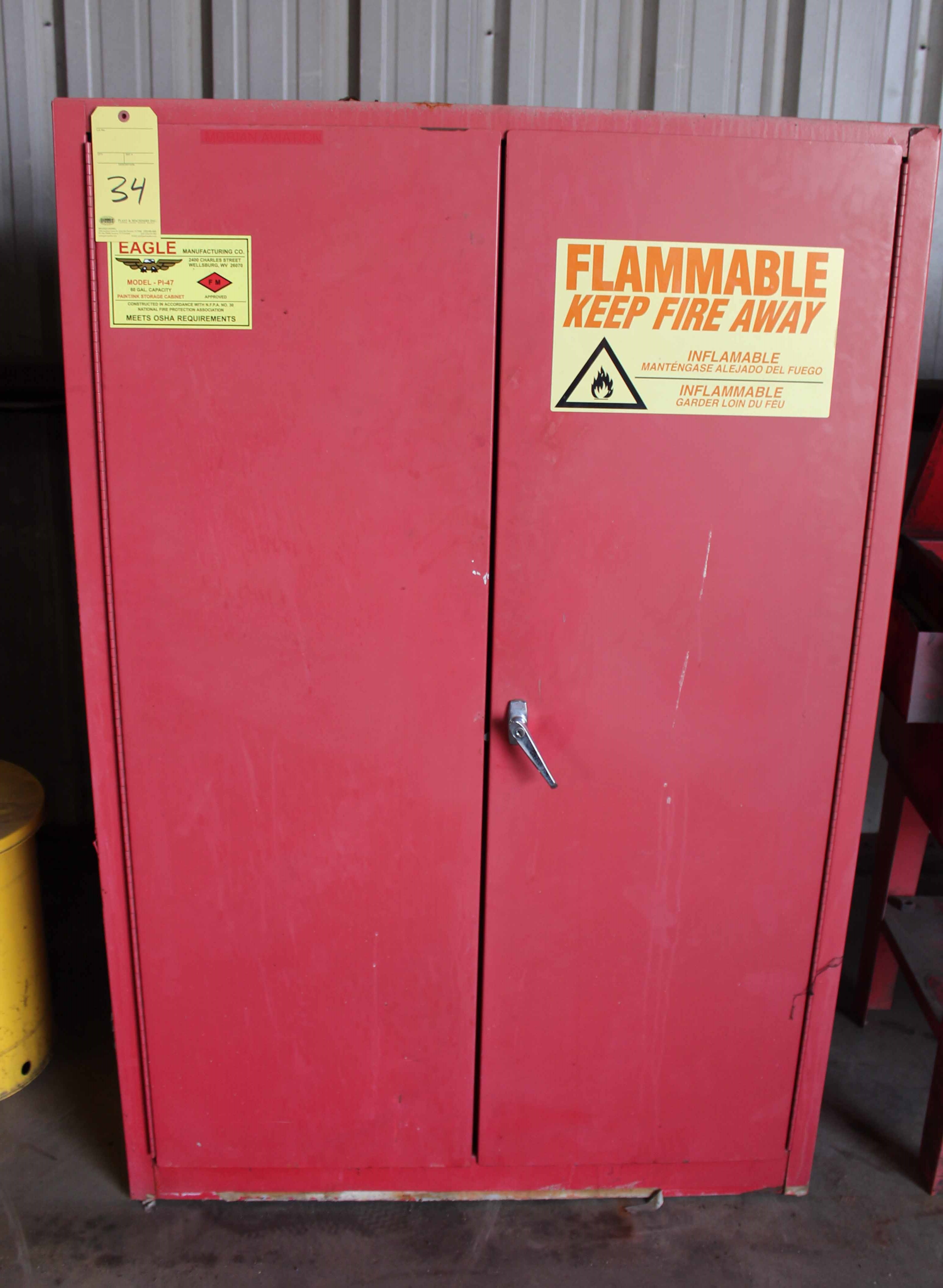 Lot 34 - FLAMMABLE MATERIAL STORAGE CABINET
