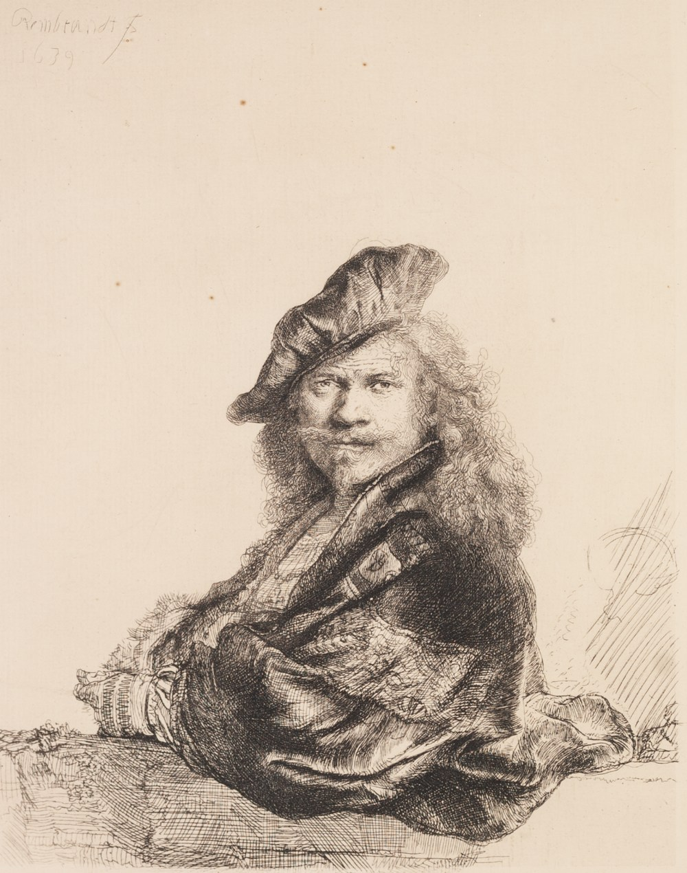 Lot 200 - AFTER REMBRANDT FACSIMILE OF AN ETCHING 'Self Portrait' and CHARLES J WATSON (1846 - 1927) DRY-POINT