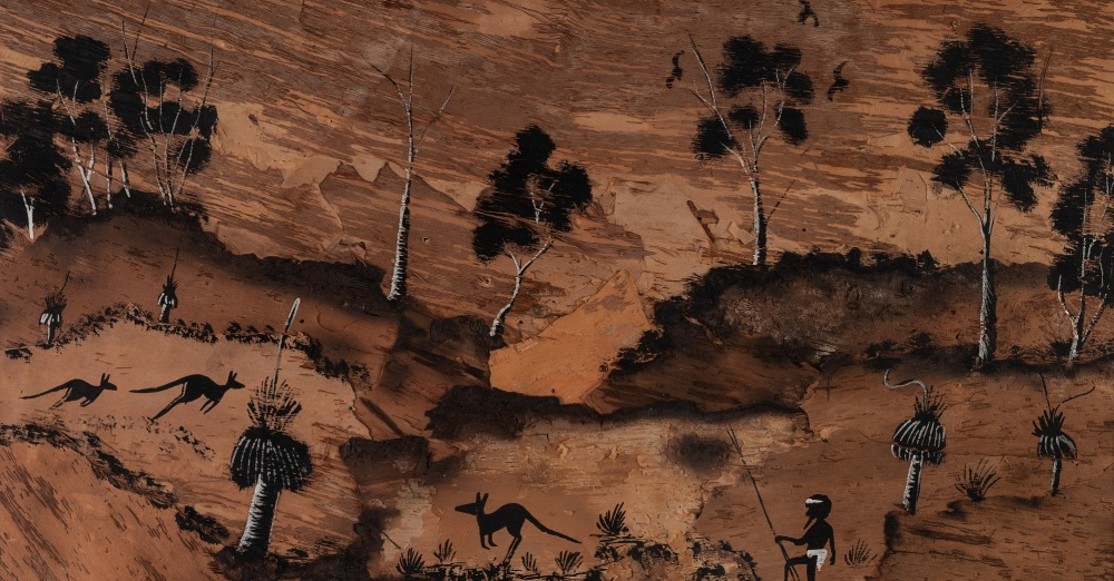 Lot 399 - AUSTRIAN ABORIGINAL SCHOOL (CONTEMPORARY) INK ON TREE BARK COLLAGE OF A NATIVE FIGURE hunting