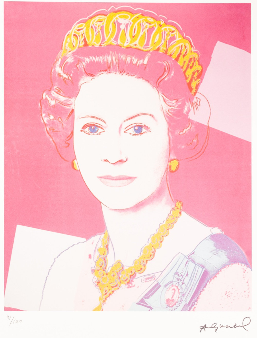 Lot 191 - ANDY WARHOL (AMERICAN 1928 - 1987) COLOURED LITHGRAPHIC PRINT ON ARCHES PAPER 'Queen Elizabeth II'