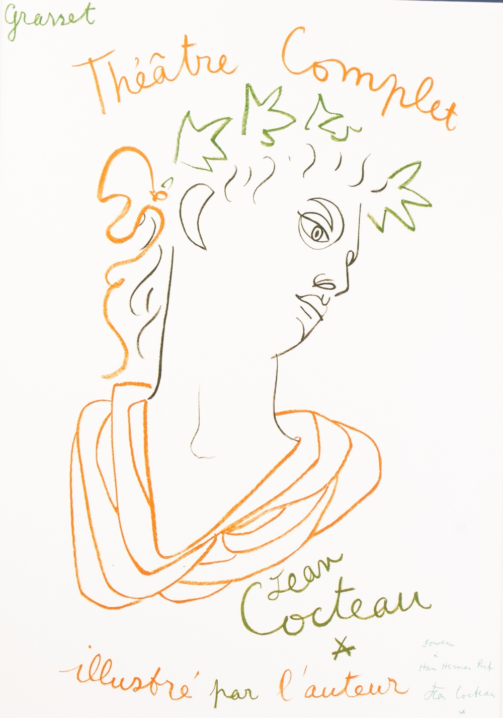 Lot 175 - JEAN COCTEAU (FRENCH 1889 - 1963) TWO OFFSET LITHOGRAPHS Respectively 'Theatre Complet' and 'Le