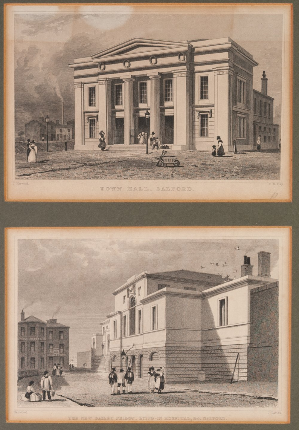 Lot 205 - SIX SMALL 19th CENTURY ENGRAVED PRINTS OF MANCHESTER BUILDINGS, in three frames, also THREE