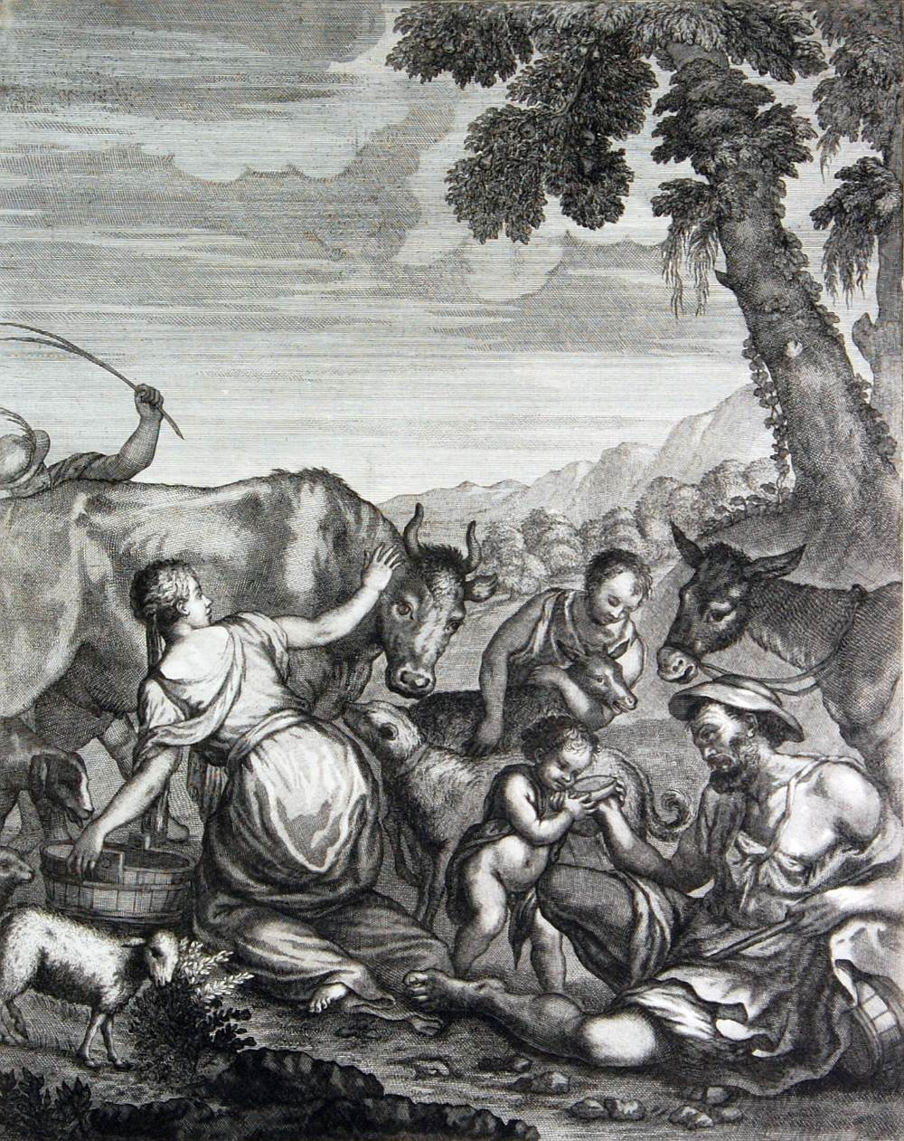 "Lot 204 - AFTER FRANCESCO PETRUCCI 18th CENTURY ENGRAVING Cattle scene 18"" x 14"" (46 x 35.5cm) not framed or"