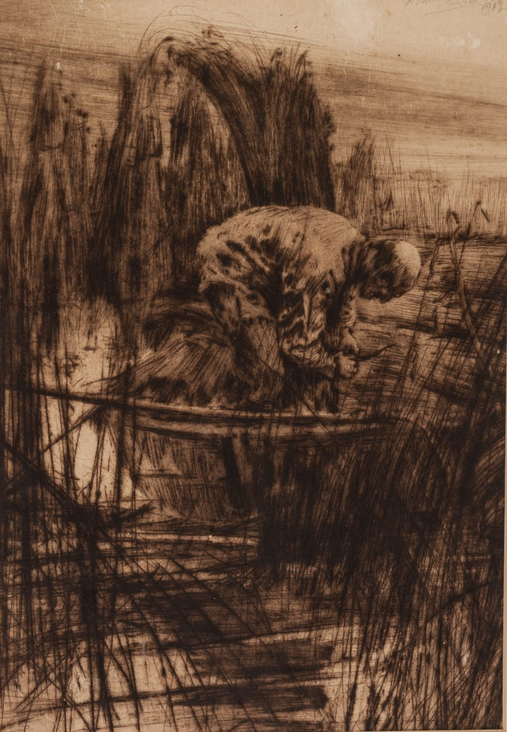 "Lot 208 - HAROLD STANLEY PERCIVAL (1868-1914) ORIGINAL ETCHING 'Reed-Cutter' 10"" x 6 3/4"" (25.5cm x 17cm)"