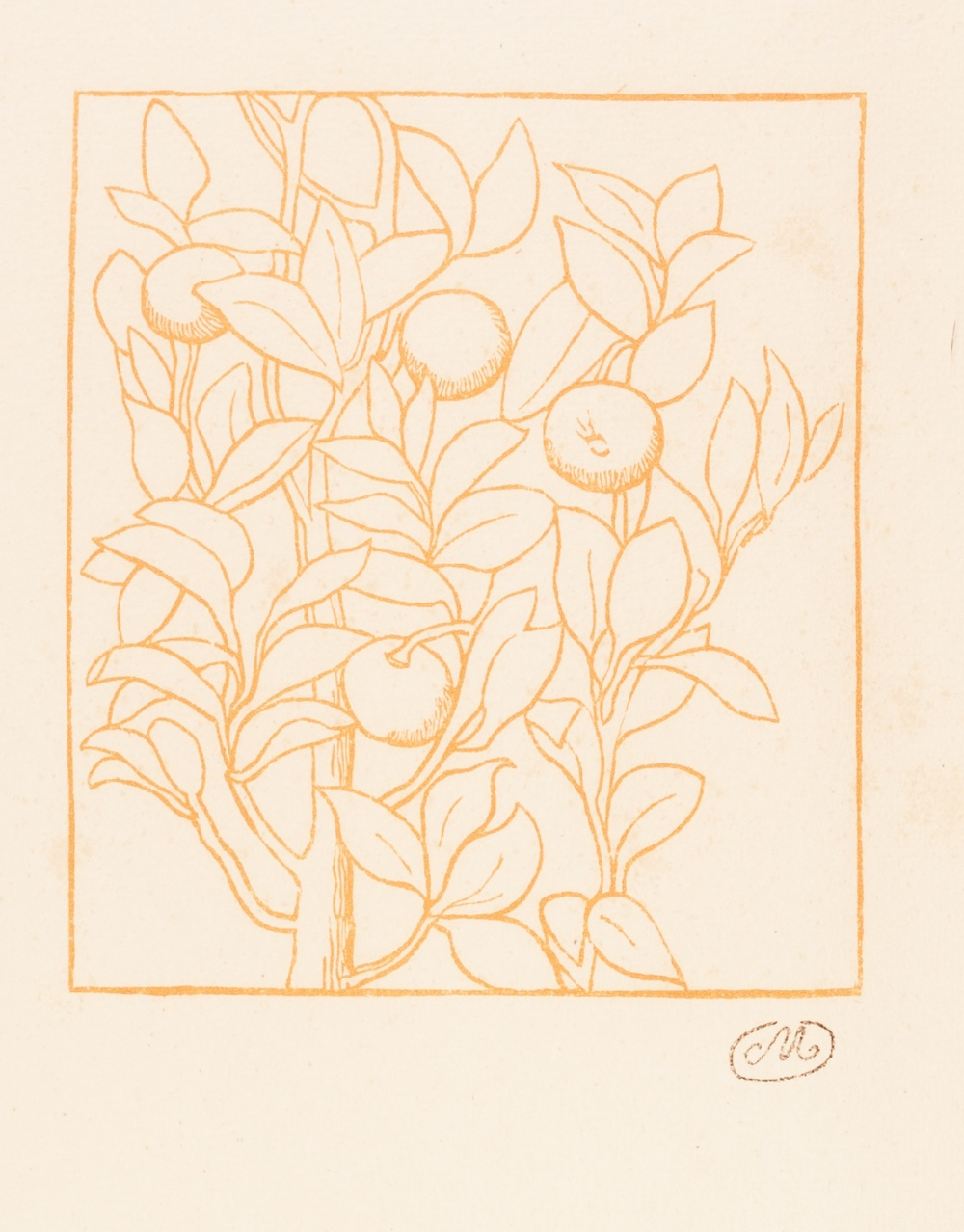Lot 177 - ARISTIDE MAILLOL (French 1861 - 1944) WOODCUT PRINTED IN BRICK RED 'Georgiques' Signed with