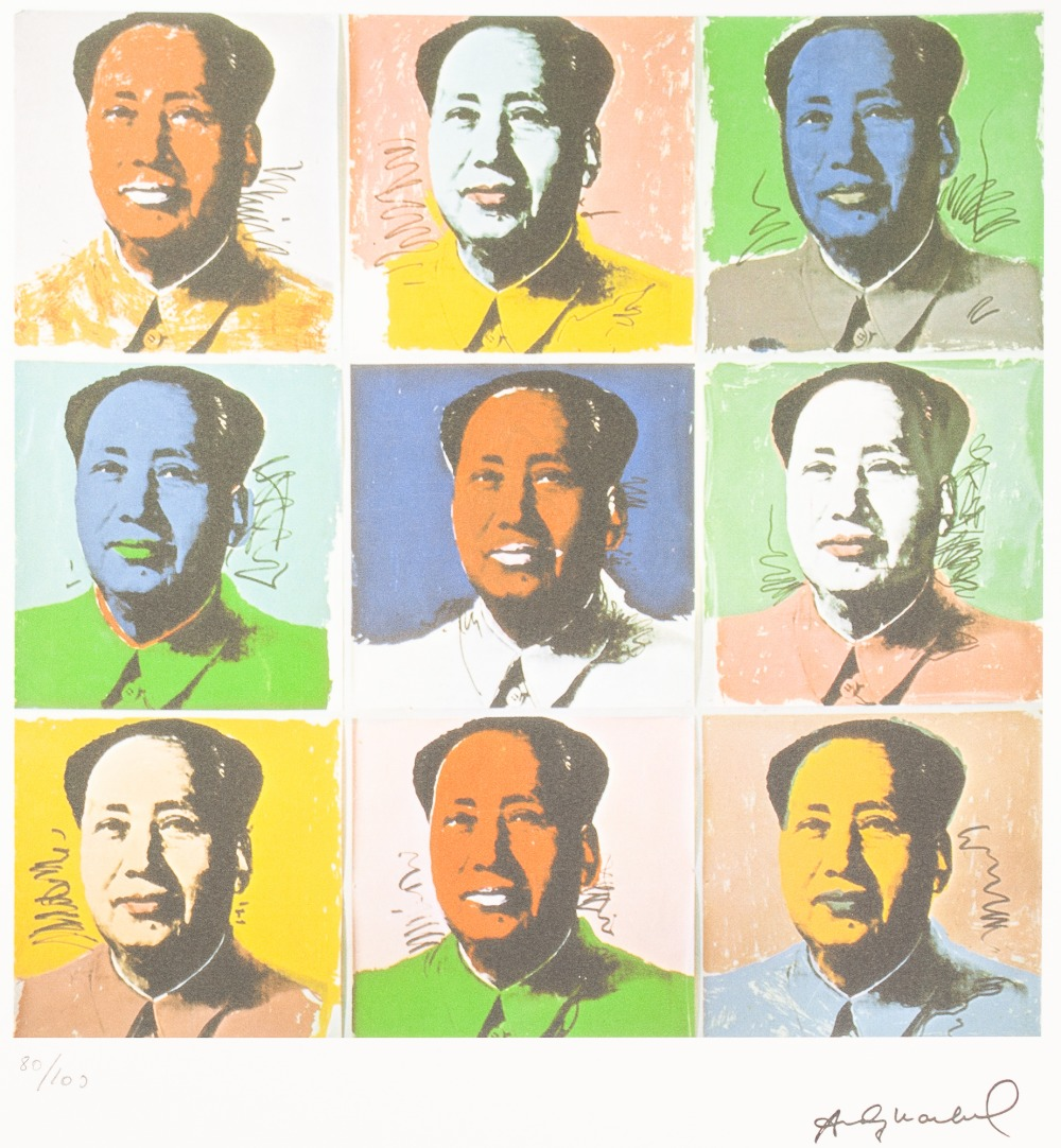Lot 183 - ANDY WARHOL (AMERICAN 1928 - 1987) COLOURED LITHGRAPHIC PRINT ON ARCHES PAPER 'Nine colour variation