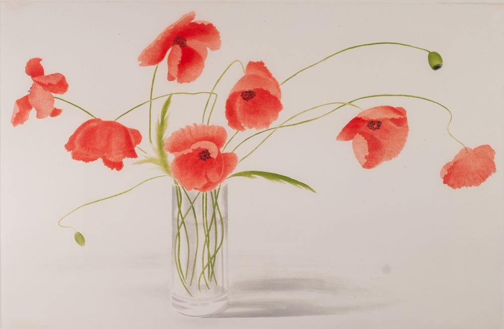 Lot 216 - LIBBY CARRECK (CONTEMPORARY) AQUATINT June Poppies Signed titled and numbered 38/150 in pencil,