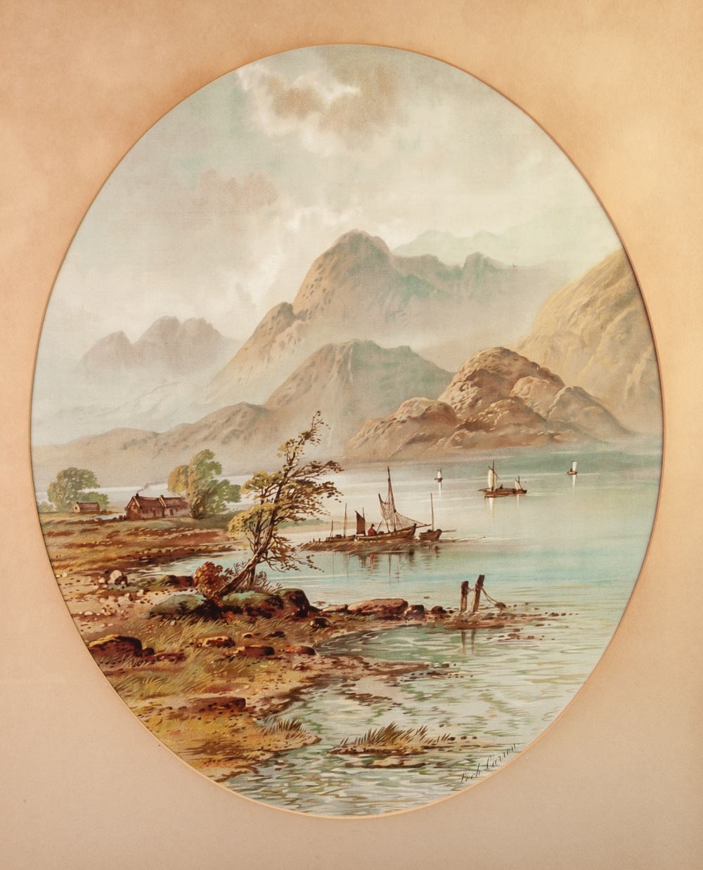 """Lot 202 - AN EARLY 1900S OVAL CHROMOLITHOGRAPHIC COLOUR PRINT OF LOCH CARRON Framed and glazed 32"""" x 27 1/"""