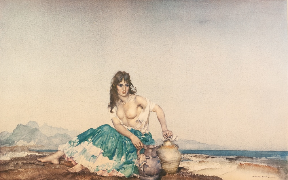 Lot 224 - SIR WILLIAM RUSSELL FLINT ARTIST SIGNED COLOUR PRINT 'Sara' Signed in pencil and with blind stamp 15