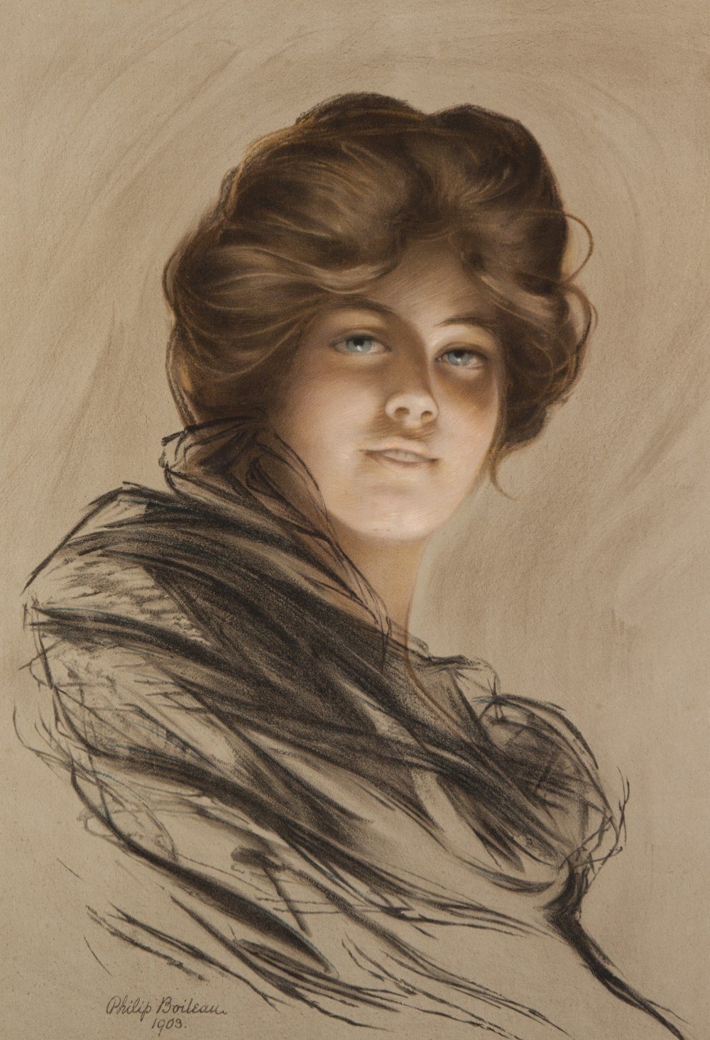 Lot 226 - PHILIP BOILEAU (1864-19170 PRINT ON COLOURED PAPER Bust length female portrait Signed and dated 1903