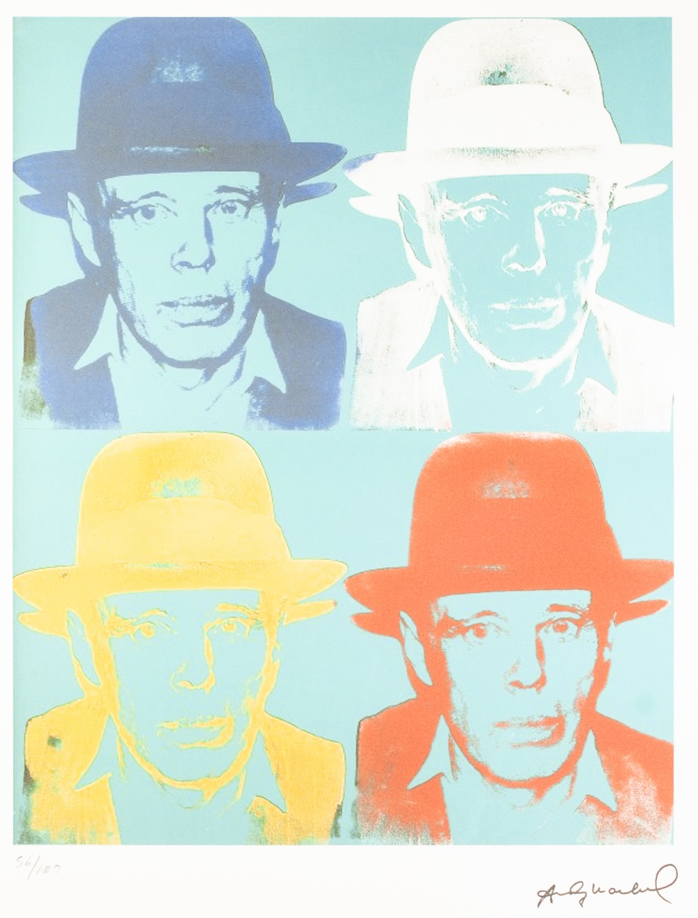 Lot 189 - ANDY WARHOL (AMERICAN 1928 - 1987) COLOURED LITHGRAPHIC PRINT ON ARCHES PAPER 'Four self potrait