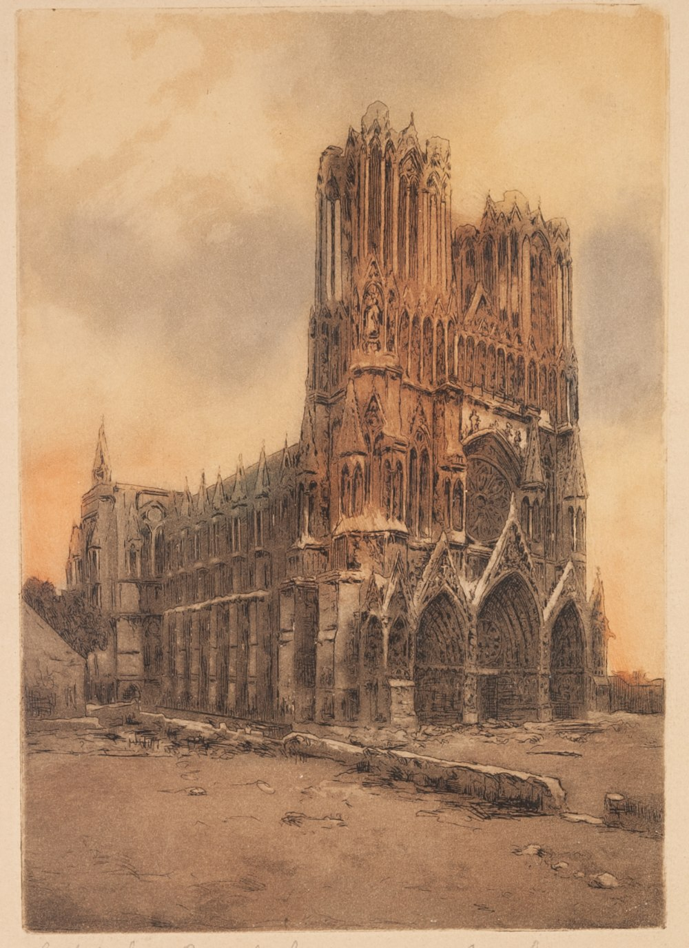 Lot 203 - MARCEL AUGISE (Late 19th/early 20th Century) ETCHING PRINTED IN COLOUR 'Cathedrale de Reims