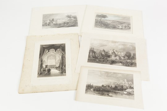 Lot 227 - THOMAS ALLOM (1804- 1872) FIVE ENGRAINGS INCLUDING ONE HAND COLOURED LINCOLN, FROM THE RIVER