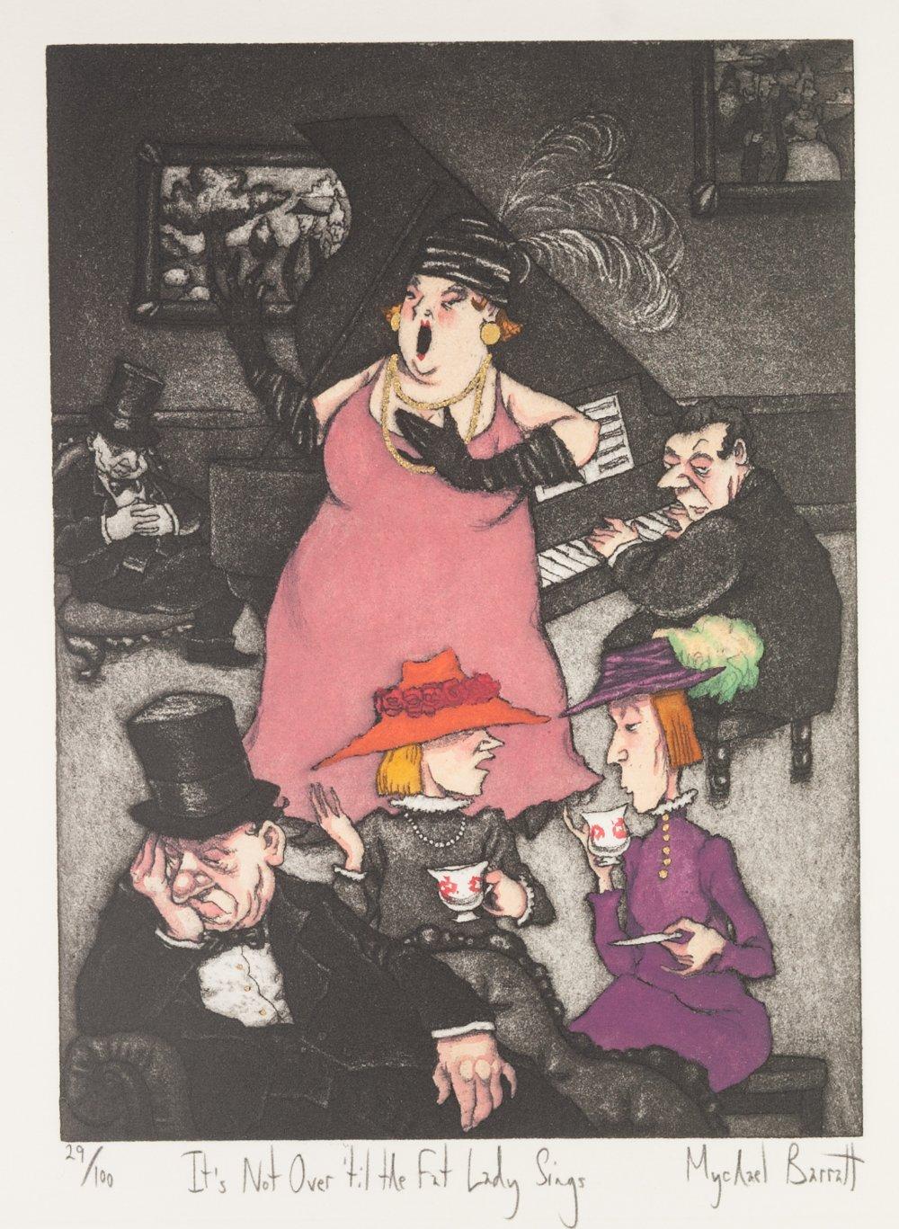 Lot 217 - MICHAEL BARRATT (CONTEMPORARY) HAND COLOURED AQUATINT 'Its not over til the fat lady sings'