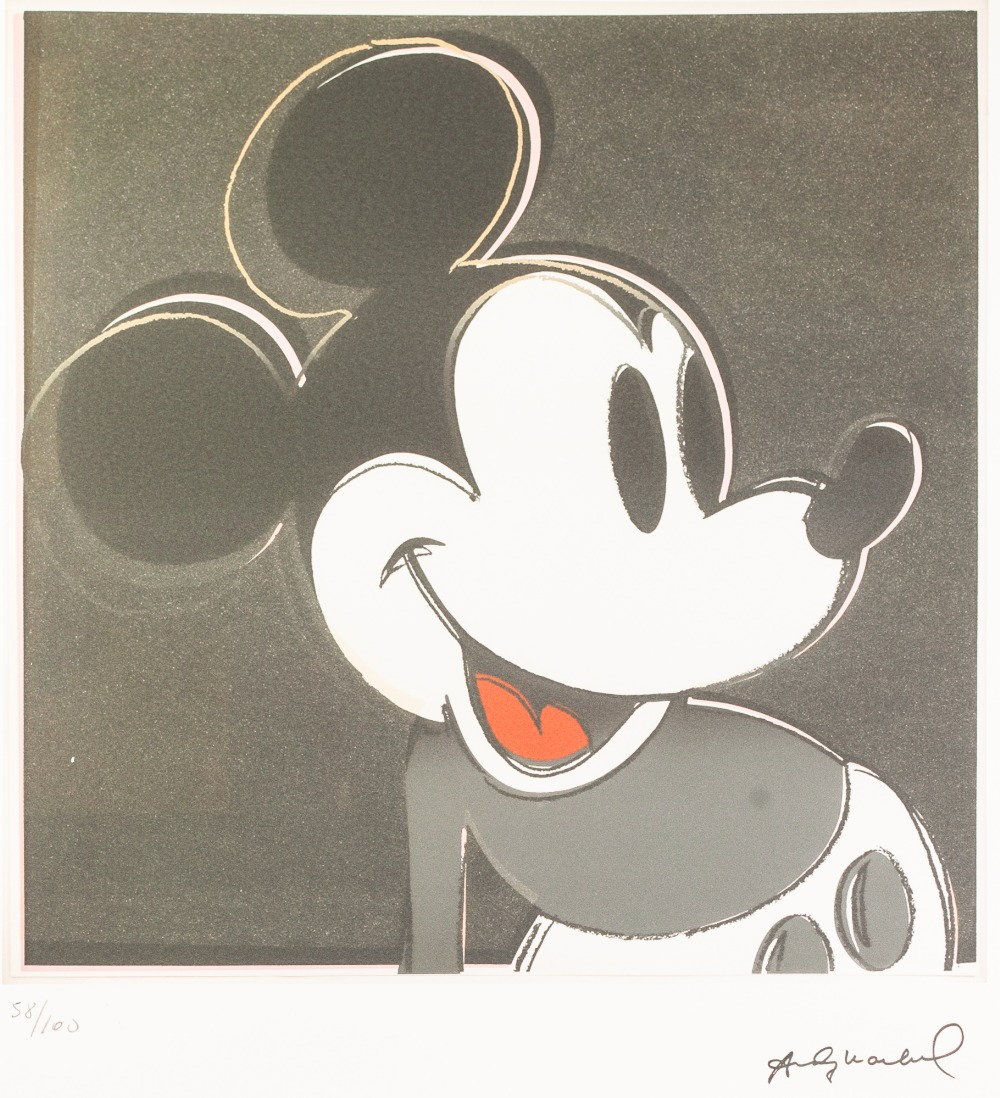Lot 181 - ANDY WARHOL (American 1928 - 1987) COLOURED LITHOGRAPHIC PRINT ON ARCHES PAPER 'Mickey Mouse' Signed