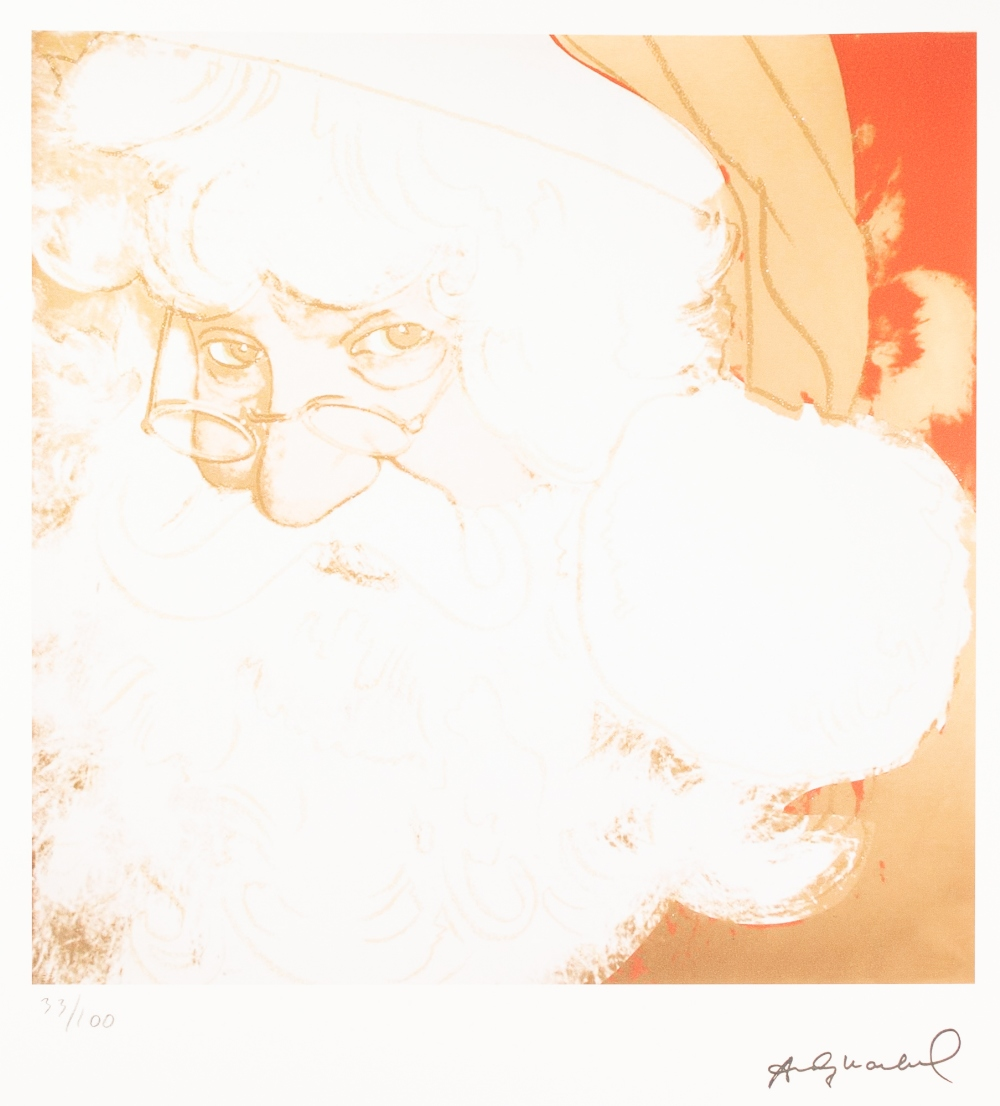 Lot 182 - ANDY WARHOL (AMERICAN 1928 - 1987) COLOURED LITHGRAPHIC PRINT ON ARCHES PAPER 'Father Christmas'