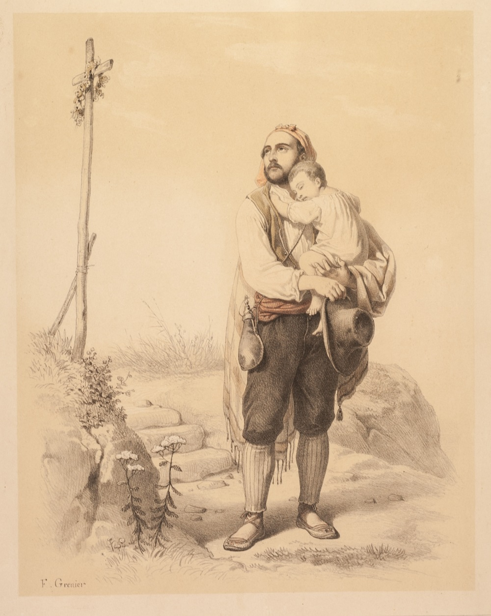 "Lot 209 - F. GRENIER SET OF FIVE TINTED BOOKPLATE PRINTS Rural figure studies, numbered 10"" x 8"" (25.4cm x"