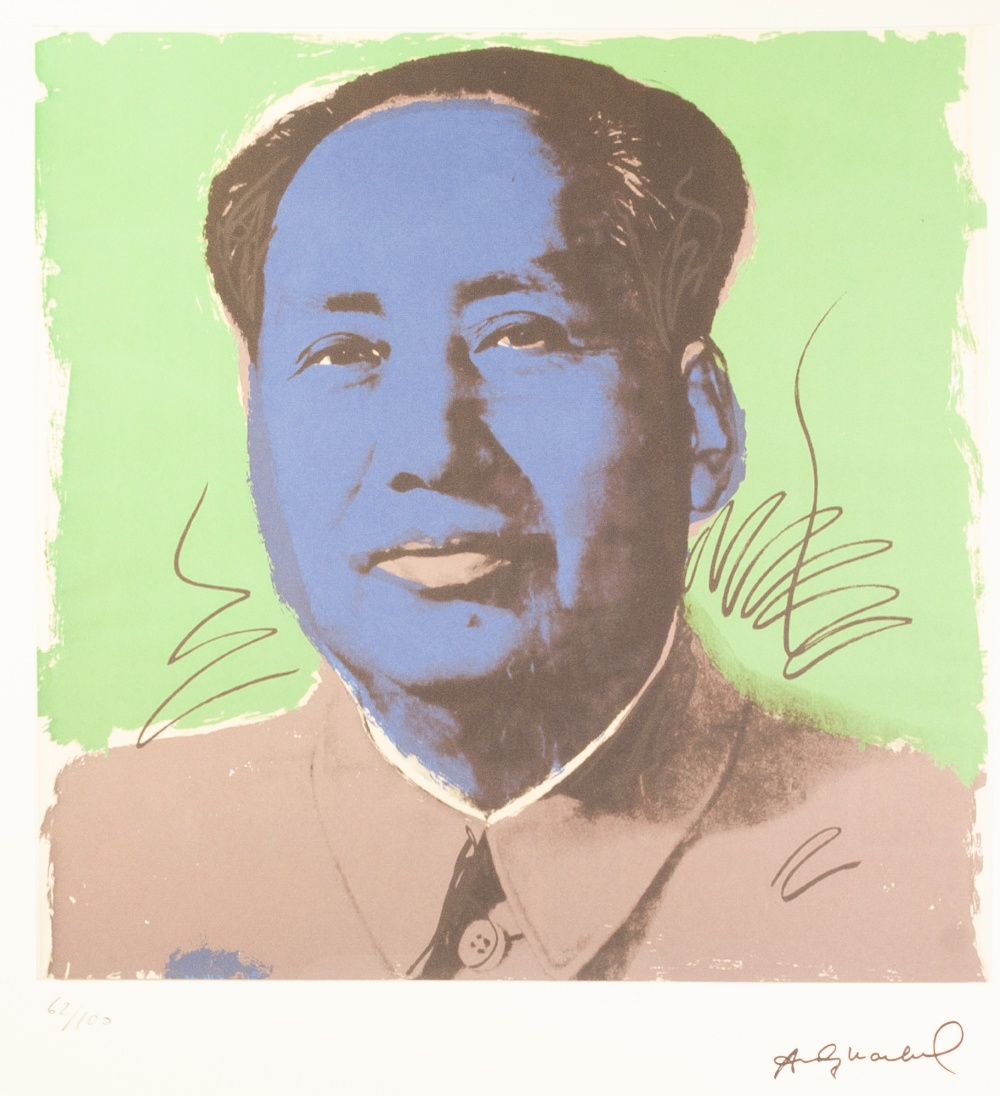 Lot 187 - ANDY WARHOL (AMERICAN 1928 - 1987) COLOURED LITHGRAPHIC PRINT ON ARCHES PAPER 'MAO ZEDONG' Signed in