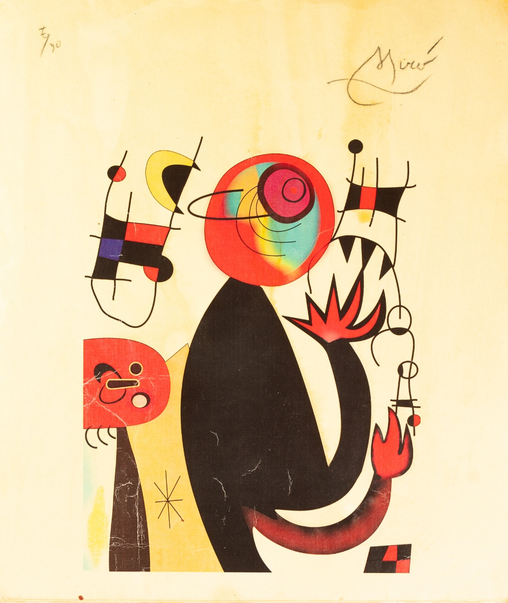 Lot 172 - •JOAN MIRO (1893 - 1983) ARTIST SIGNED COLOURED LITHOGRAPHIC PRINT No. 7/30 with 'Ministerio de