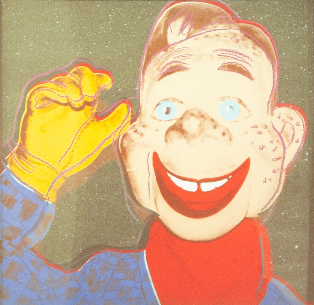 Lot 184 - ANDY WARHOL (AMERICAN 1928 - 1987) COLOURED LITHGRAPHIC PRINT ON ARCHES PAPER 'Howdy Doody' Signed