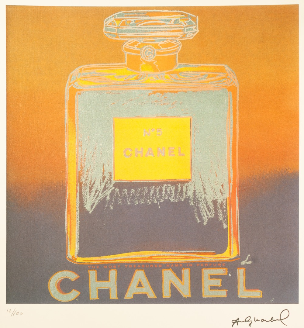 Lot 188 - ANDY WARHOL (AMERICAN 1928 - 1987) COLOURED LITHGRAPHIC PRINT ON ARCHES PAPER 'Chanel No 5' Signed