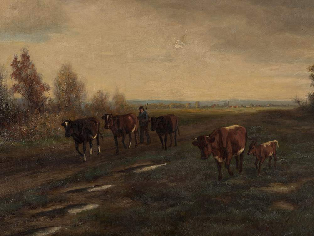 Auktionslos 33 - Robert Beielstein (1859-1930), On the Way Home, Oil, 1903  Oil on canvas Germany, 1903 Robert