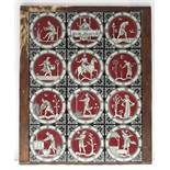 A SET OF TWELVE VICTORIAN POTTERY TILES, representing the months of the year, each depicting a