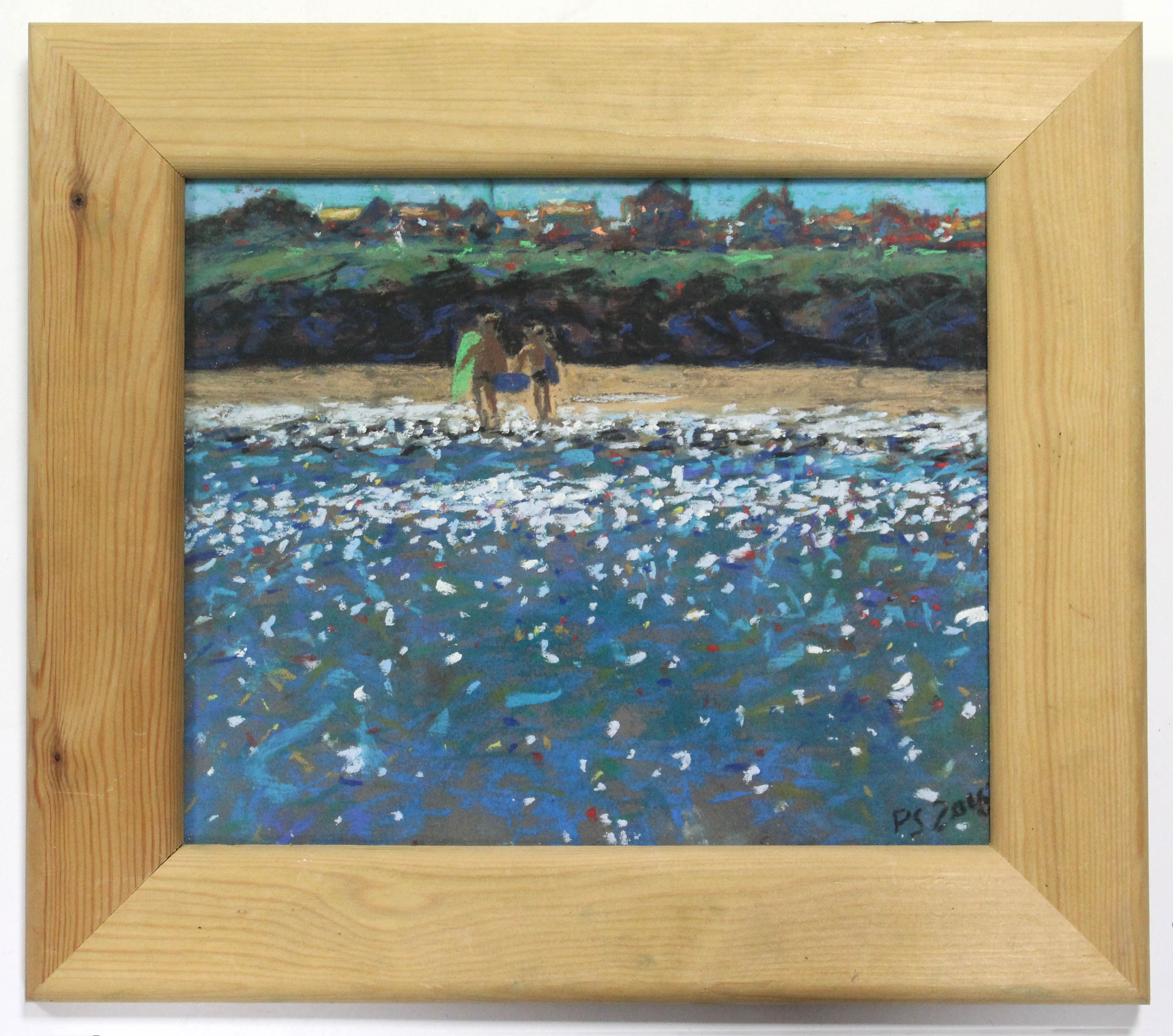 """Lot 186 - PAUL STEPHENS (Contemporary). """"Surfing, St. Ives Bay"""". Signed with initials & dated 2016; Pastels:"""