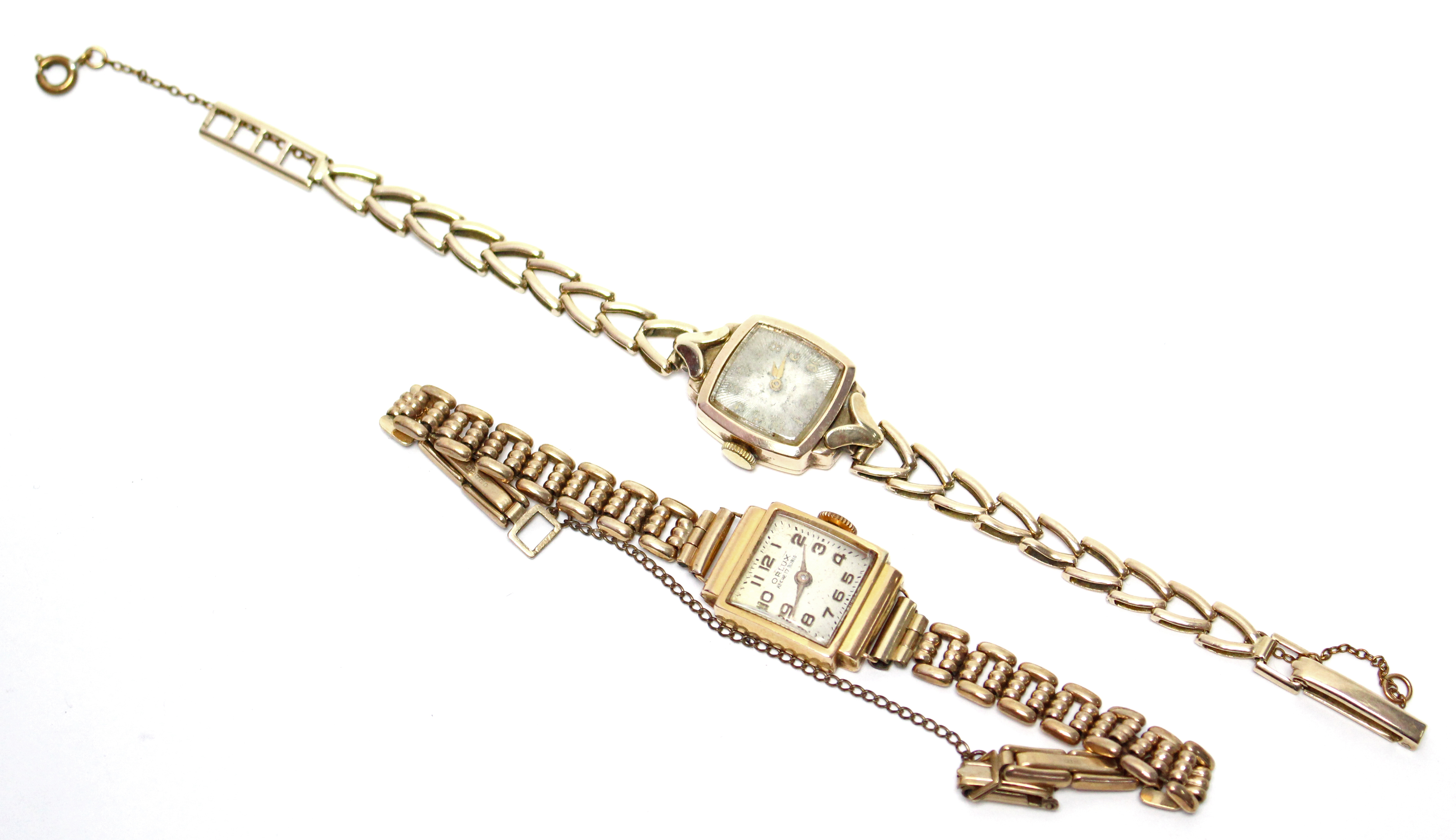 Lot 28 - Two 9ct. gold ladies' wristwatches, each with 9ct. flexible bracelet. (22.5 gm total, including
