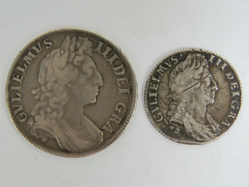 Lot 6 - A silver William III 1701 half crown, 34mm dia, 14.6g, in good condition.