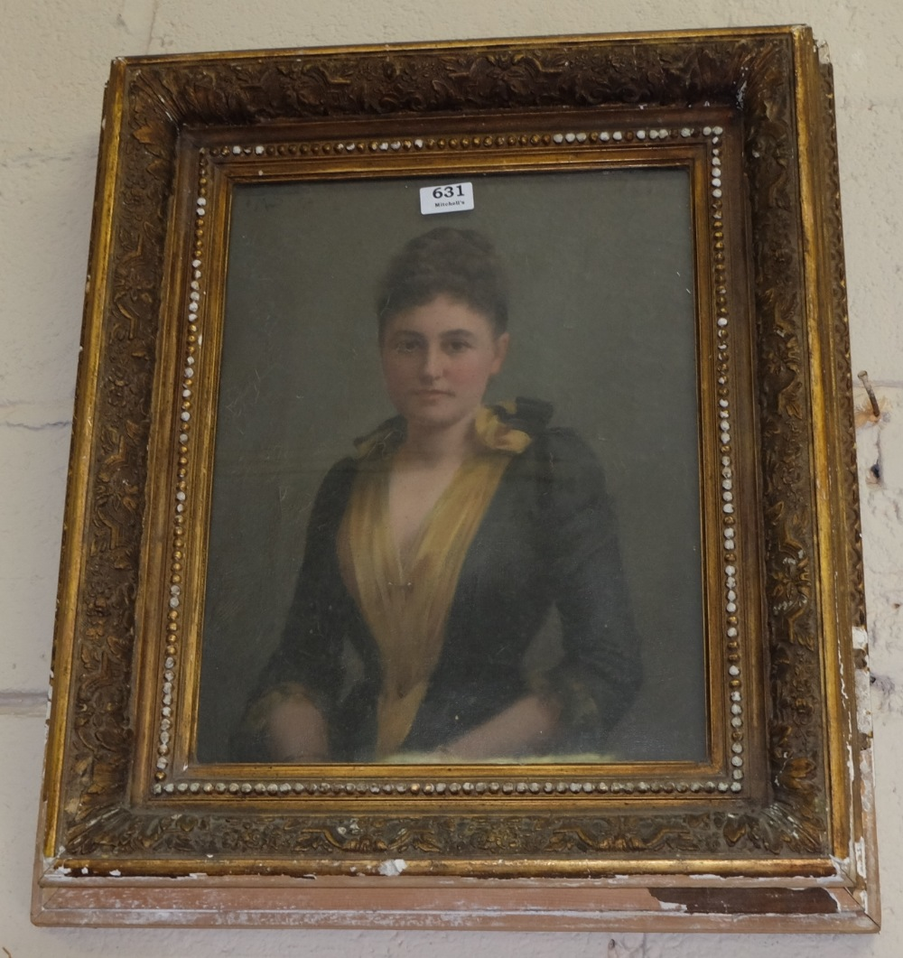 Lot 631 - Edw. Oil on Canvas, portrait of a seated Lady, wearing a black dress with yellow slip, in moulded