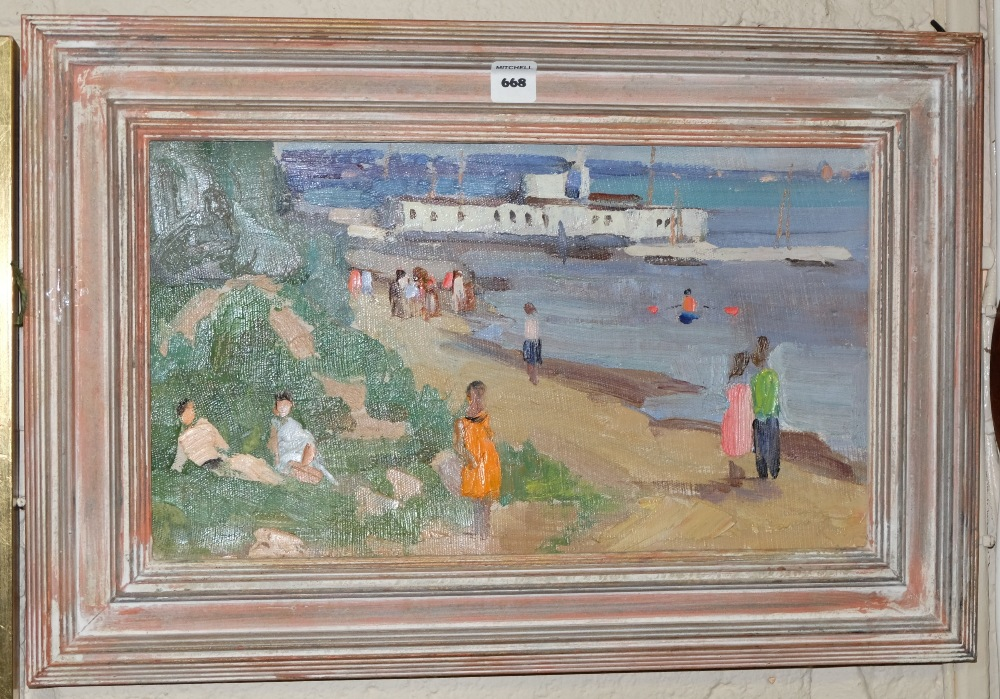 "Lot 668 - Oil on board, Russian Seaside Scene with white pavilion, signed verso, 21""2 x 14""h"
