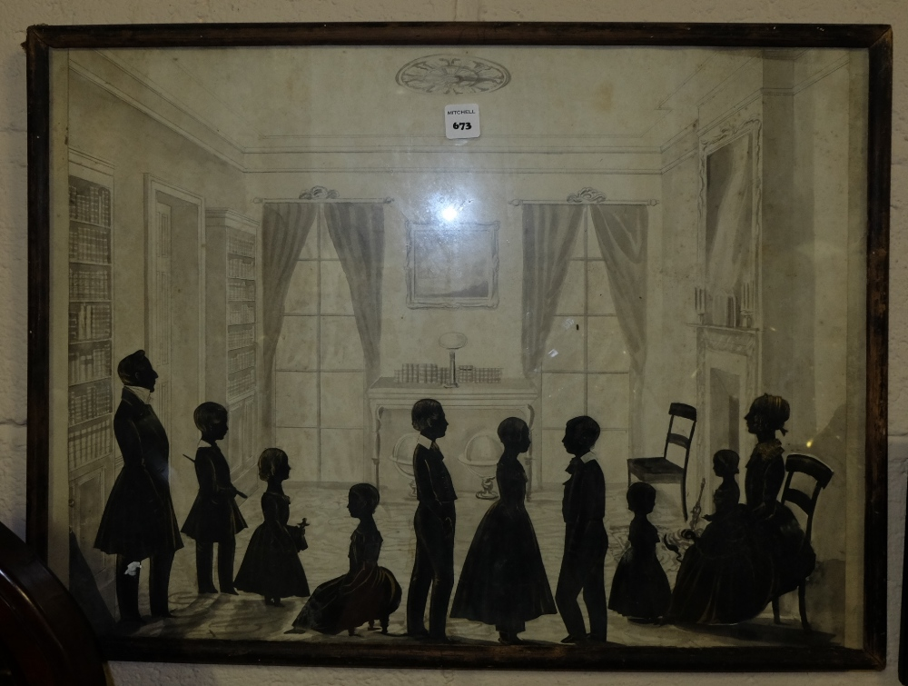 "Lot 673 - Georgian Silhouette – portraits of ""The Rev. H.B. Maccartney DD Wife and 8 Children 1847"", in oak"