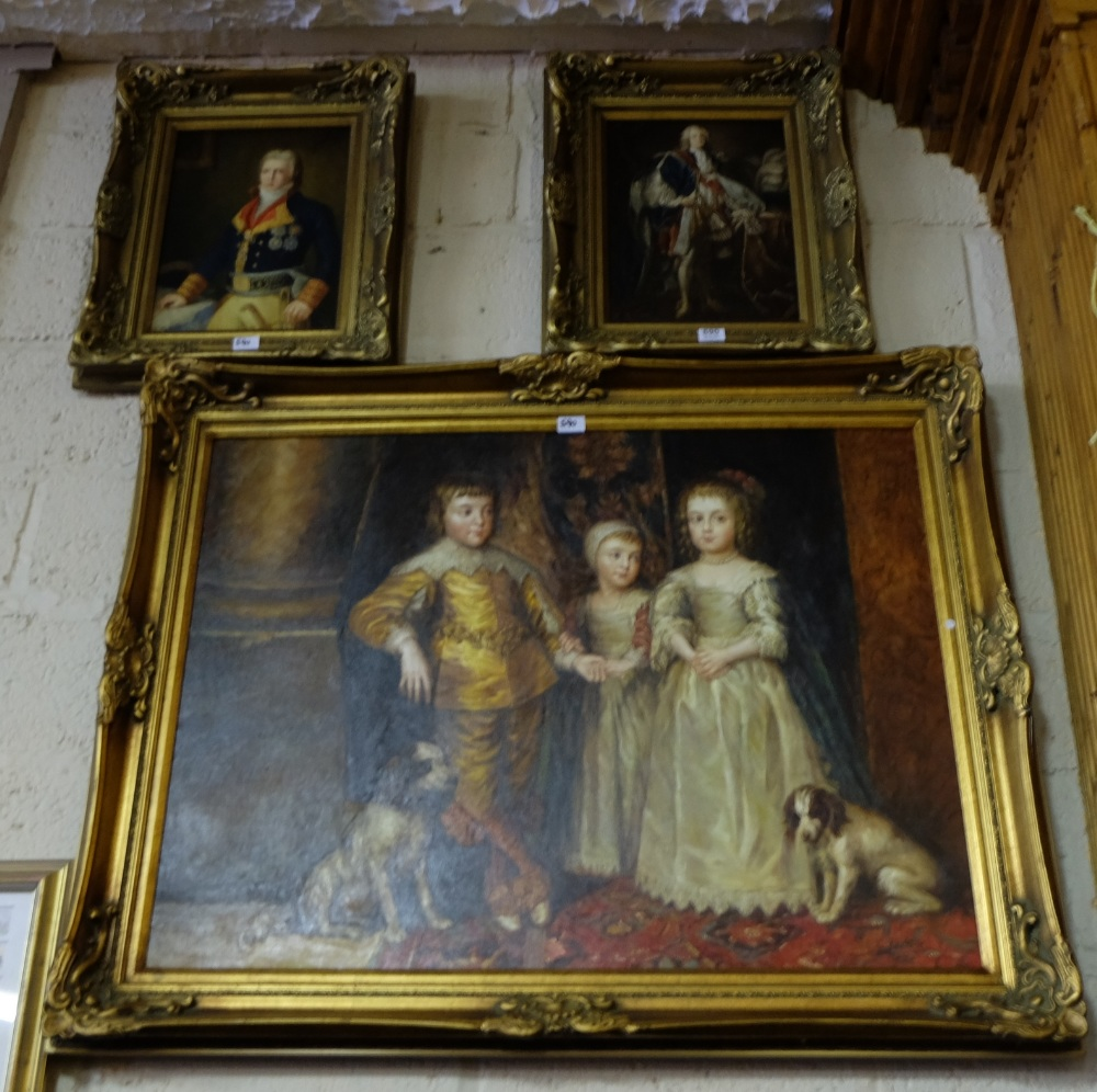 Lot 590 - Reproduction oil on canvas, in gilt frame – Portrait of 3 Elizabethan children in moulded gilt frame