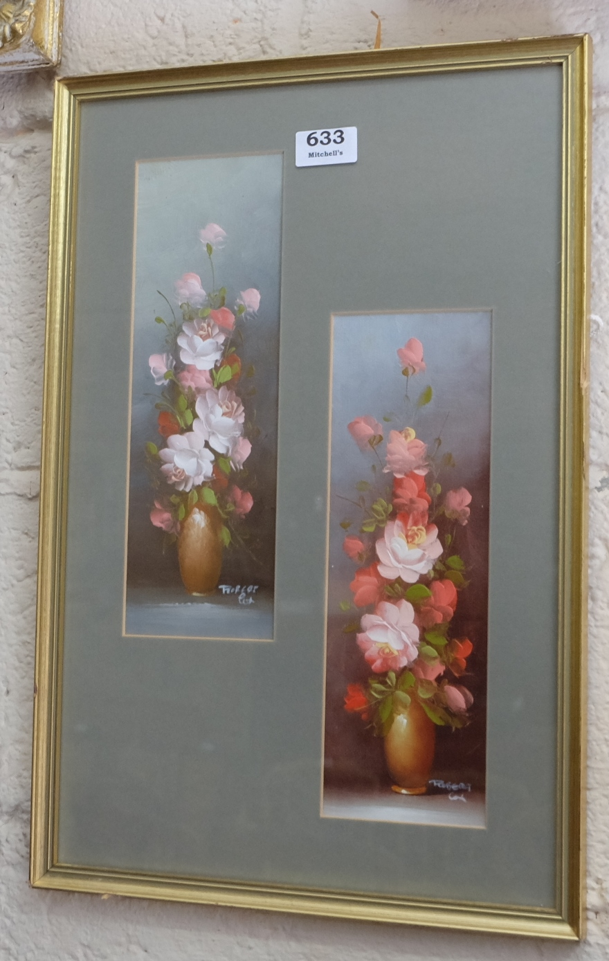 Lot 633 - Oil on Canvas – a diptych of Roses in vases & Japanese watercolour in gilt frame – mountain