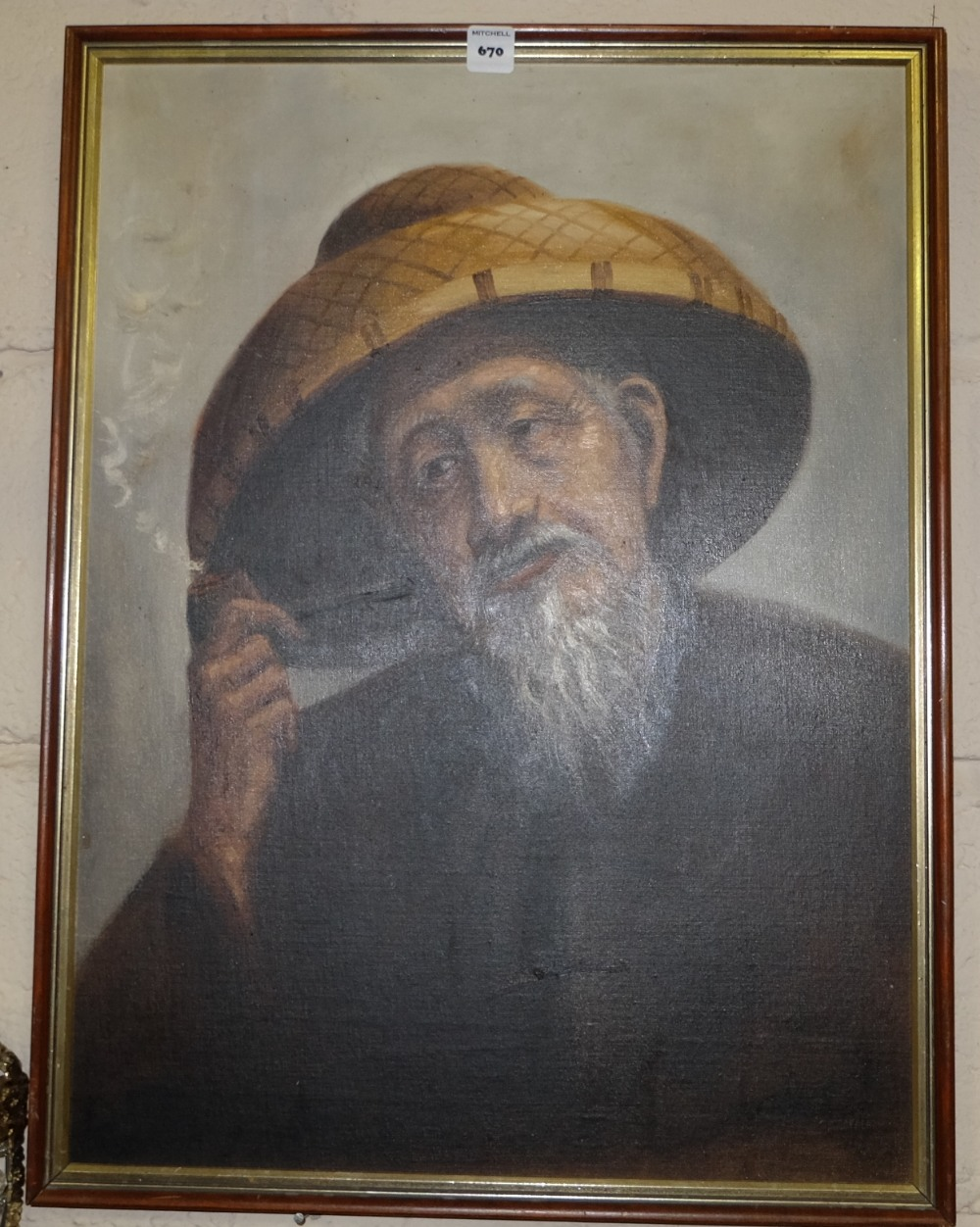 "Lot 670 - Oil on board, portrait of a Japanese man smoking a pipe, 18.5""w x 25""h, signed lower right"